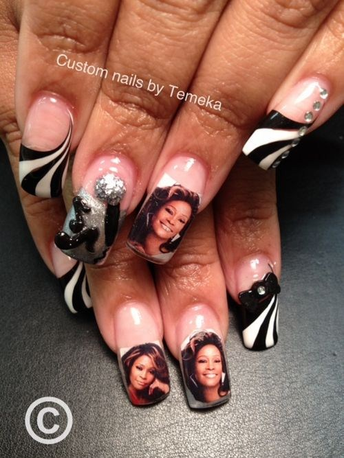 Day 55 whitney houston memorial nail art nails magazine temeka jackson dahlias beauty salon orange prinsesfo Choice Image
