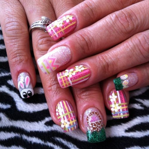 Day 98: Easter Bunny Nail Art