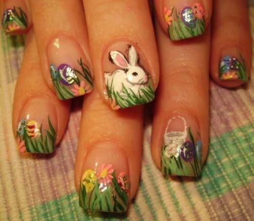 Easter Bunny Nail Art: Day 99: Happy Easter Nail Art