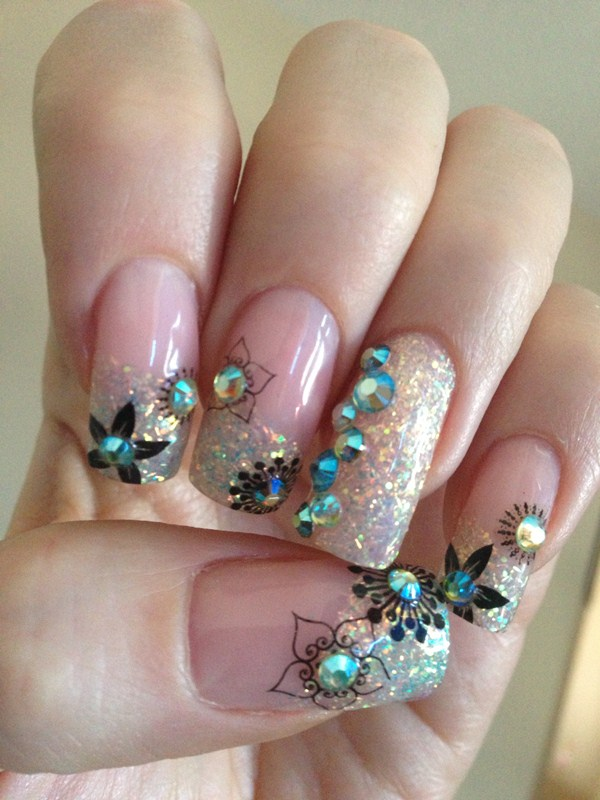 Day 19: Jeweled Flower Nail Art - - NAILS Magazine
