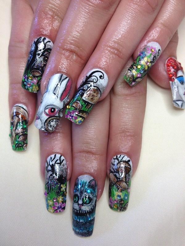 Day 22 alice in wonderland nail art nails magazine for Acrylic nails salon brisbane
