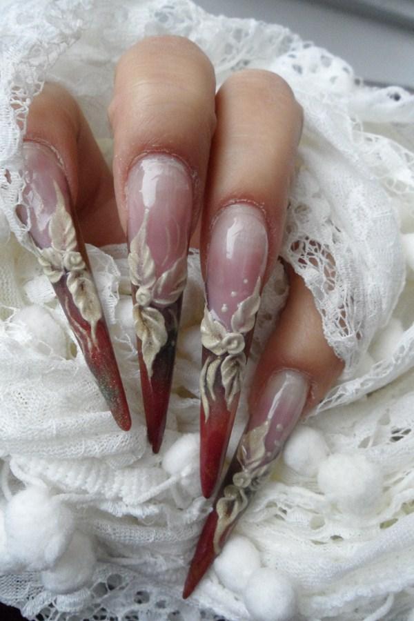Day 6: White Flower Stiletto Nail Art - - NAILS Magazine