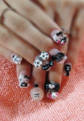 Day 173 Hello Kitty And Coco Chanel Nail Art Nails Magazine