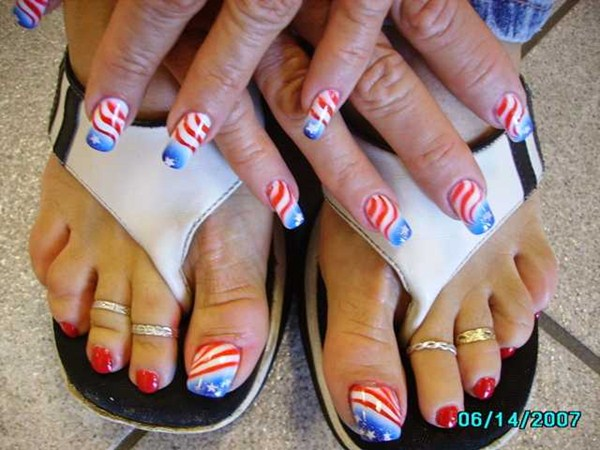 - Day 185: American Flag Nail Art - - NAILS Magazine