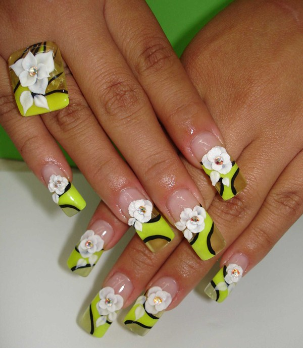 Day 194 Acrylic Flowers On Abstract French Nails With Matching Ring