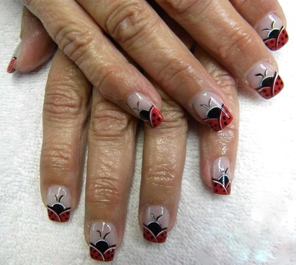 Day 198: Ladybug French Nail Art - Day 198: Ladybug French Nail Art - - NAILS Magazine