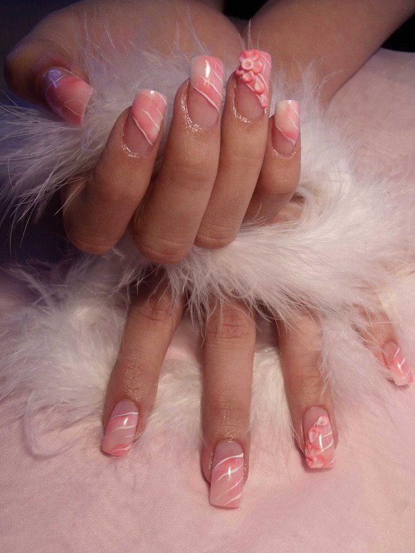 Day 216: Feathers and 3-D Flowers Nail Art - - NAILS Magazine