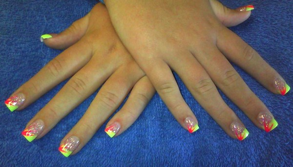 Day 280: Abstract Neon French Nail Art - - NAILS Magazine