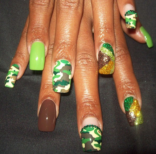 Stephanie Saddler, Buttafingers Nail Studio (Cleveland, Ohio) - Day 318: Camo Nail Art - - NAILS Magazine