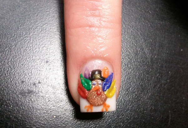 Day 329 Acrylic 3 D Turkey Nail Art Nails Magazine
