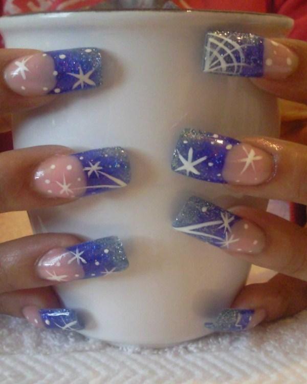 Day 341: Starry, Snowy French Nail Art - - NAILS Magazine