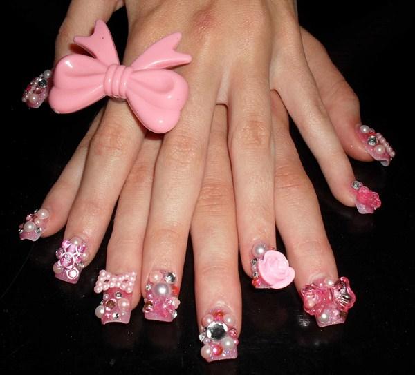 Day 365 pearls and bows nail art nails magazine for Acrylic nails salon brisbane