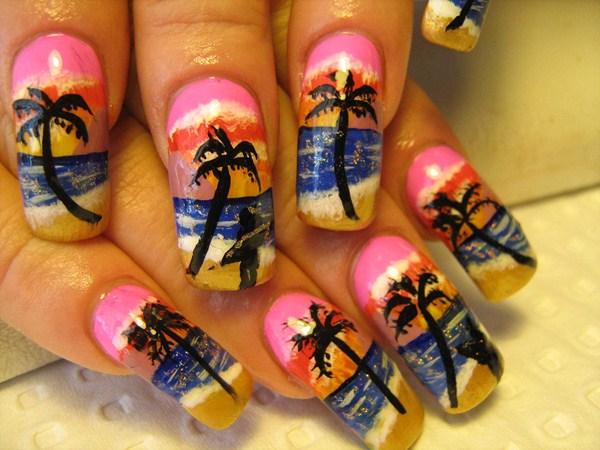 Lisa Barclay, Beautiful Nailz (Hillbank, South Australia) - Day 37: Sunset Beach Nail Art - - NAILS Magazine