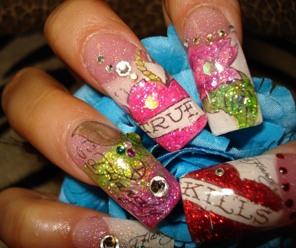 Day 54 ed hardy tattoo nail art nails magazine prinsesfo Choice Image
