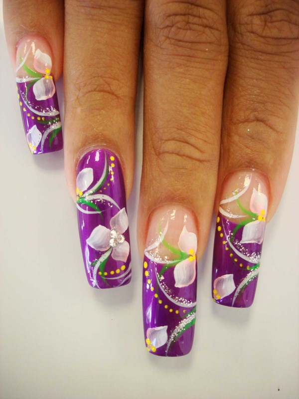Day 64: Abstract French Floral Nail Art - - NAILS Magazine