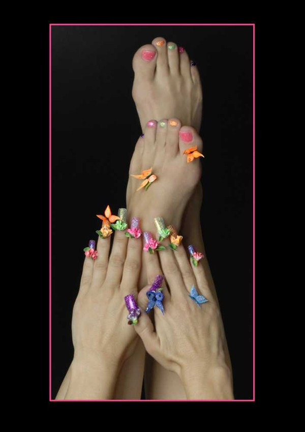 Fancy Multi Coloured Glitter Nails Collection - Nail Art Design ...