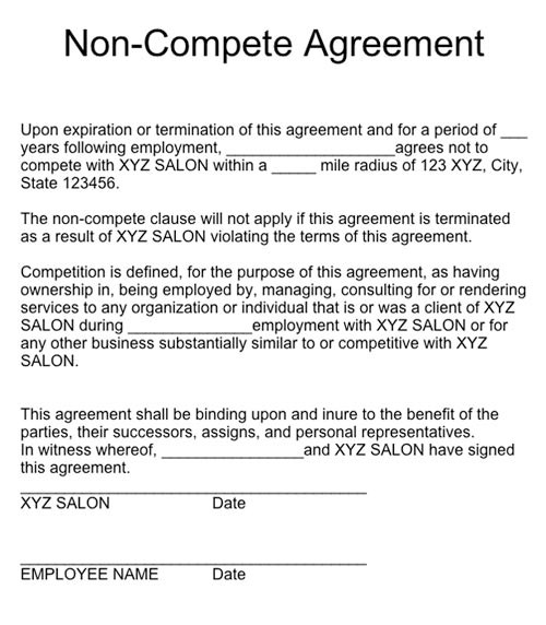 non compete agreement example