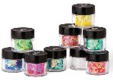 Young Nails' Royal Red Glitter, Fortune Glitter, Clear Acrylic Powder, Lemonade Mylar, green, yellow, red, black acrylic paint