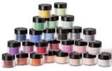 Young Nails' Metallic Gold Acrylic Powder, Rouge Acrylic Powder, Warm Gold Acrylic Powder, Clear Speed Acrylic Powder, Finish Gel, orange, yellow, and black acrylic paint