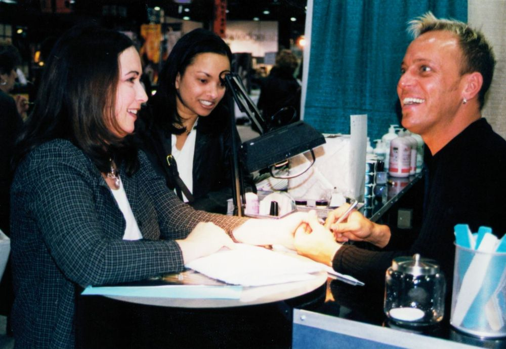 <p>Working the EZ Flow booth at a trade show in the late 1990s/early 2000s.</p>