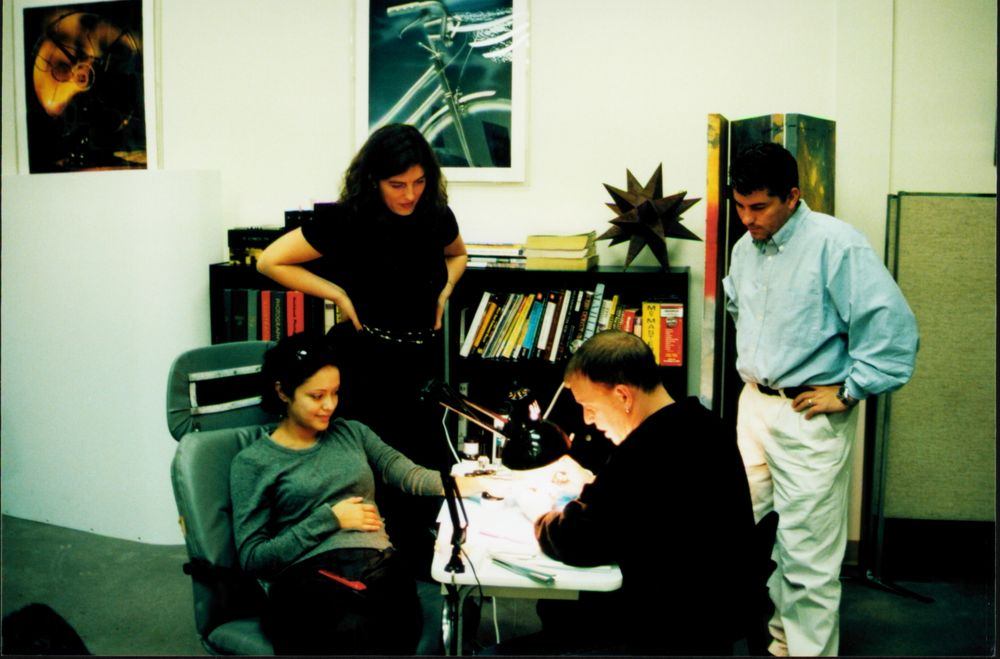 <p>Behind the scenes for a cover shoot for NAILS in April 2000.</p>