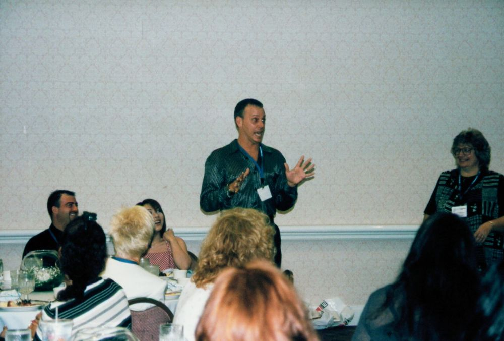 <p>Speaking to a group of nail technicians at a networking event in the early 2000s.</p>