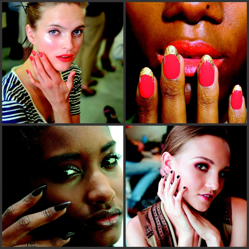 """<p align=""""left"""">On the New York Fashion Week runways, we saw tons of custom nail designs &ndash; created to specifically complement the presented garments. There were also some fierce brights, inspired by the &rsquo;60s. shown (clockwise from left): OPI Monsooner or Later on Jason Wu model; high-glam &rsquo;60s nails by CND for Norman Ambrose show; Dashing Diva&rsquo;s Mr. Right polish mixed with mineral makeup for Cuchnie et Ochs; a tribal look from Essie at the Pamela Love show</p>"""