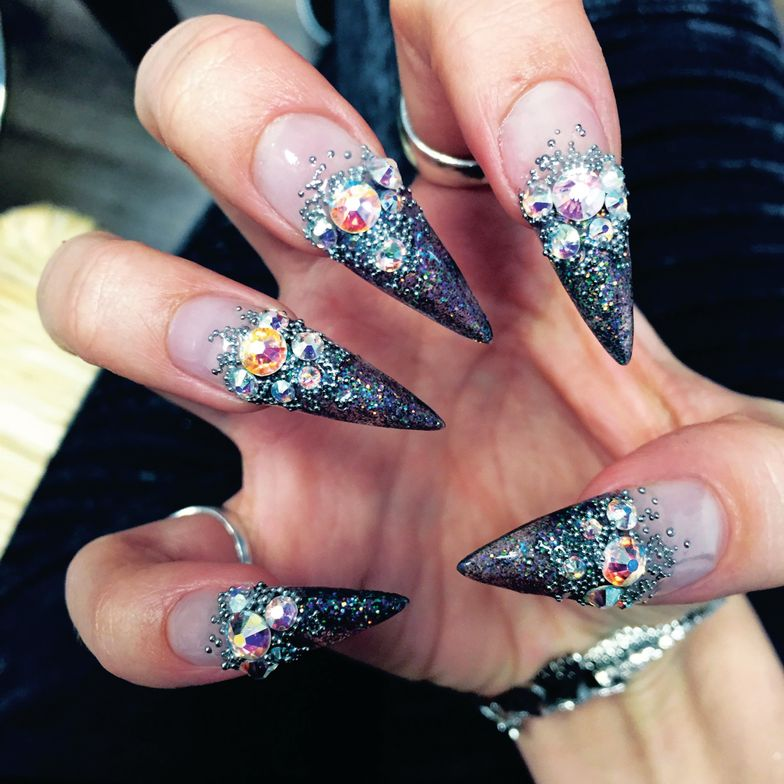<p>Blanche Macdonald Global Makeup and Nail Studio graduate Paige Roy created these crystal-embellished nails, a look that would appeal to progressive clients in Canada.</p>