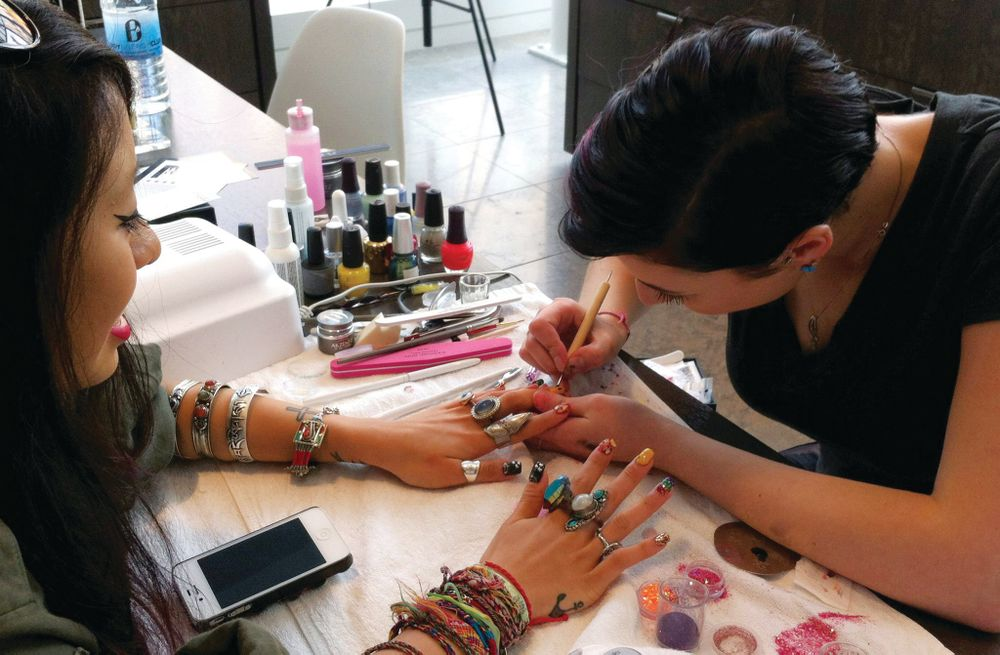 <p>Stefania Flex does nails at CurliQue Beauty, which is within Blanche Macdonald's Atelier Campus Downtown Vancouver. </p>