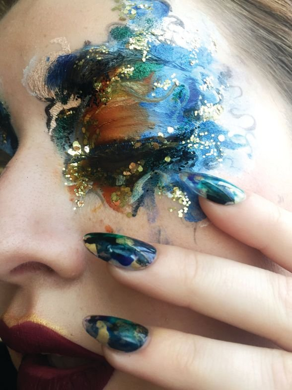 <p>Blanche Macdonald Nail Studio graduate Stefania Flex created these abstract nails and Global Makeup graduate Evelyn Affleck applied the makeup.</p>