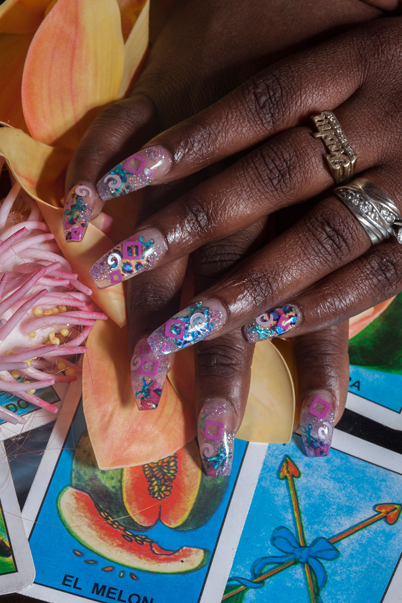 <p>Inlay with orange orchids, el melon and nameplate ring, 2015</p> <p>Archival pigment print</p> <p>26 x 40&rdquo;</p> <p>Nail art by Tiff EB.&nbsp;</p>