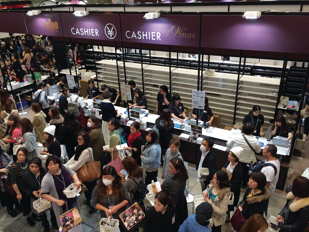 <p>At times, the Tokyo Nail Forum line to check out was three hours long. Also note how empty the shelves are after the day. Photo courtesy @HiJeanJean</p>