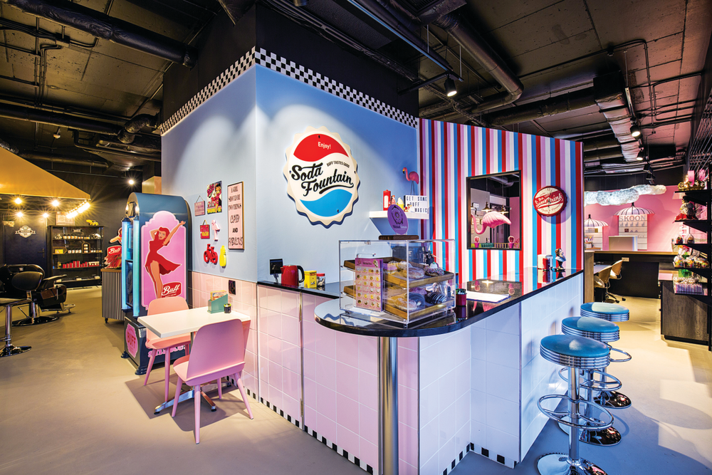 <p>Buff Beauty Parlor is full of fun design elements, like this soda fountain.</p>