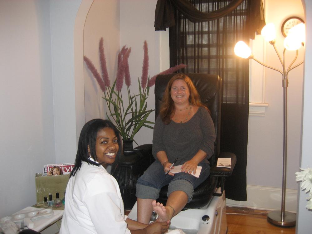 <p>At Zoe Nails in Charlotte, N.C. with salon owner Wanda Belk.</p>