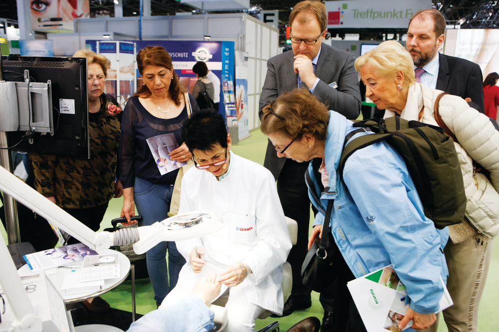 <p>At Beauty Düsseldorf, foot care has its own hall where exhibitors such as Gehwol demonstrate their products. Photo courtesy Messe Düsseldorf / Constanze Tillmann</p>