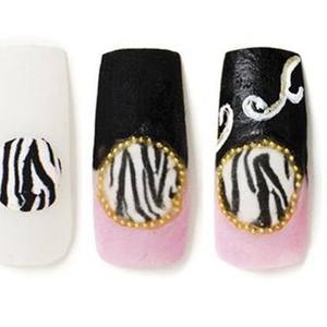 Embedded Nail Art with Handpainted Accents