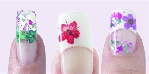 Nsi dry flower design style nails magazine here nsi demonstrates how to use its attraction liquid and speed clear powder to embed tiny flowers in an acrylic enhancement but any nsi acrylic or gel prinsesfo Choice Image
