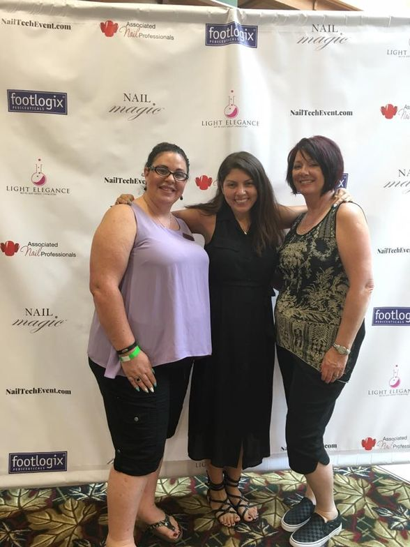 <p>NAILS senior editor Beth Livesay (center), CND EA Laura Merzetti (right), and Dayna Knight (left) discussed the Canadian Nail Tech Connection.</p>