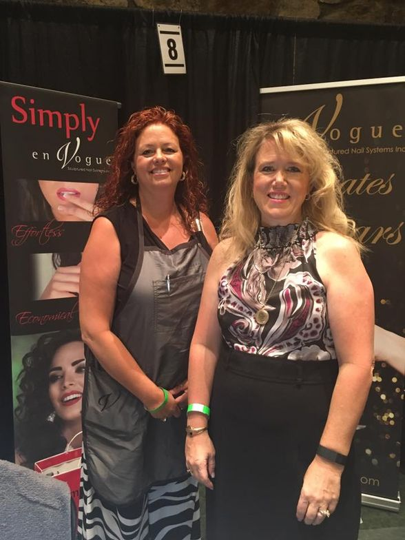 <p>En Vogue's Karen Anderson (left) and Beverly Henderson showed off the brand's new decal line.</p>