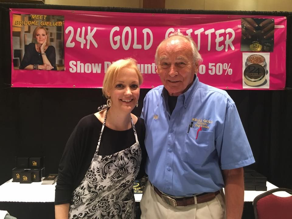 <p>Brooke Gilliam demoed 24k Gold Glitter at the booth with Bill Crowley.</p>
