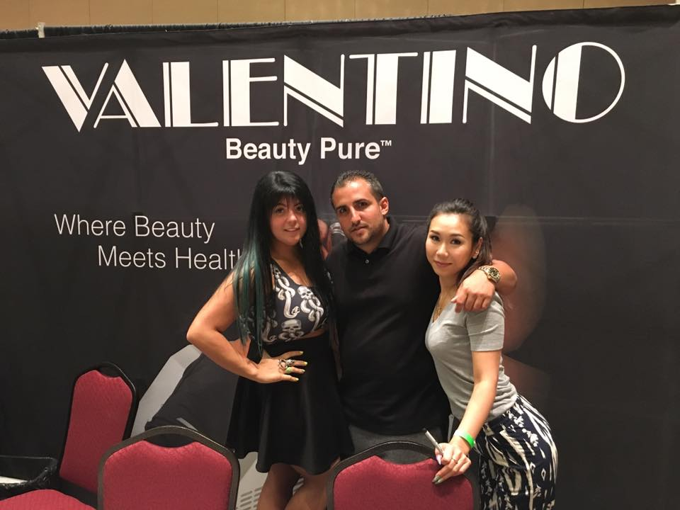 <p>Lexi Martone (left) showed off her signature hand painting and Tattify wraps at the Valentino and Vetro booths. David Anthony and Megumi Hasegawa were also on-hand, posting on social media and meeting with techs.</p>