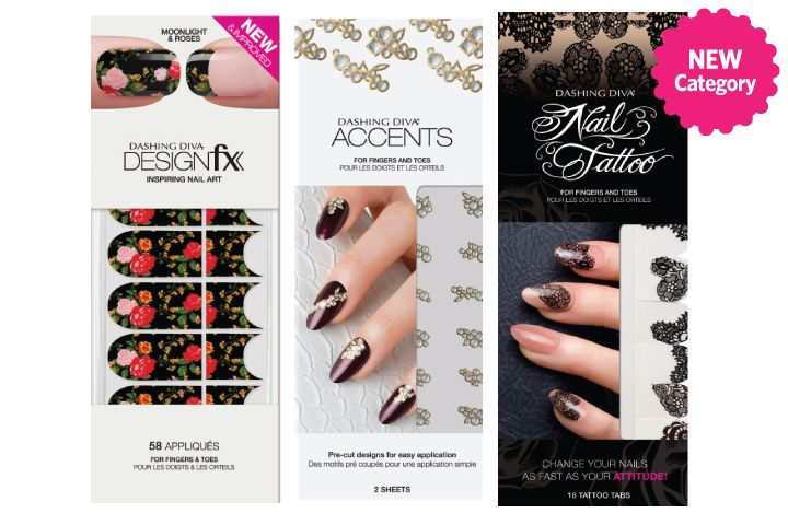 <p><strong>FAVORITE NAIL ART APPLIQUES</strong><br />1. Dashing Diva: Designfx, Nail Tattoos, Accents<br />2. Minx: Underwear<br />3. It&rsquo;s So Easy: Stripe &rsquo;Em<br />4. Empower Nail Art: Self-Adhesive Nail Films<br />5. Backscratchers Salon Systems: Divine Designs Nail Art</p>