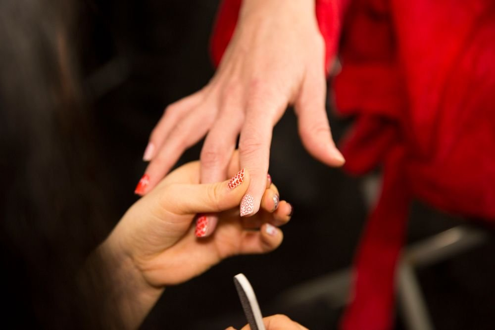 <p>Jamberry nail wraps created in honor of the American Heart Association's Go Red campaign showed at NYFW to raise awareness.</p>