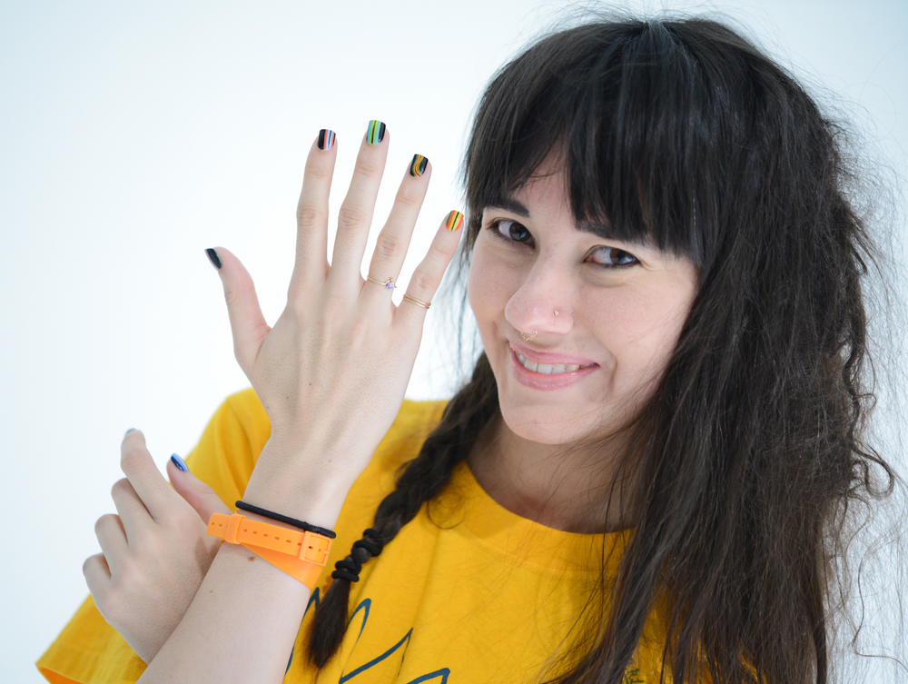 <p>Everyone saw stripes at the DEGEN show thanks to lead nail tech Casey Herman for China Glaze.</p>