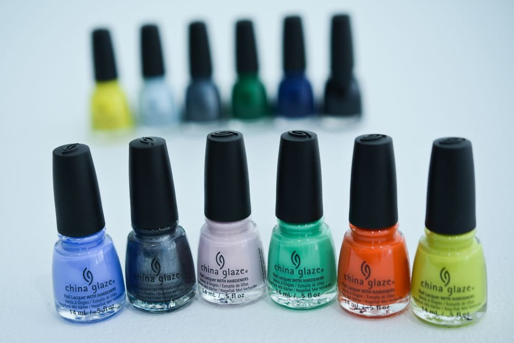 <p>A variety of new and core China Glaze shades made up the palette at DEGEN.</p>