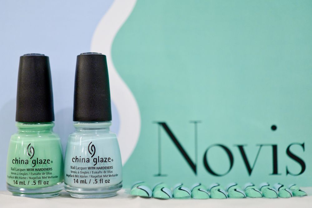 <p>China Glaze Kinetic Candy and Shore Enuff were used for the nails at Novis.</p>