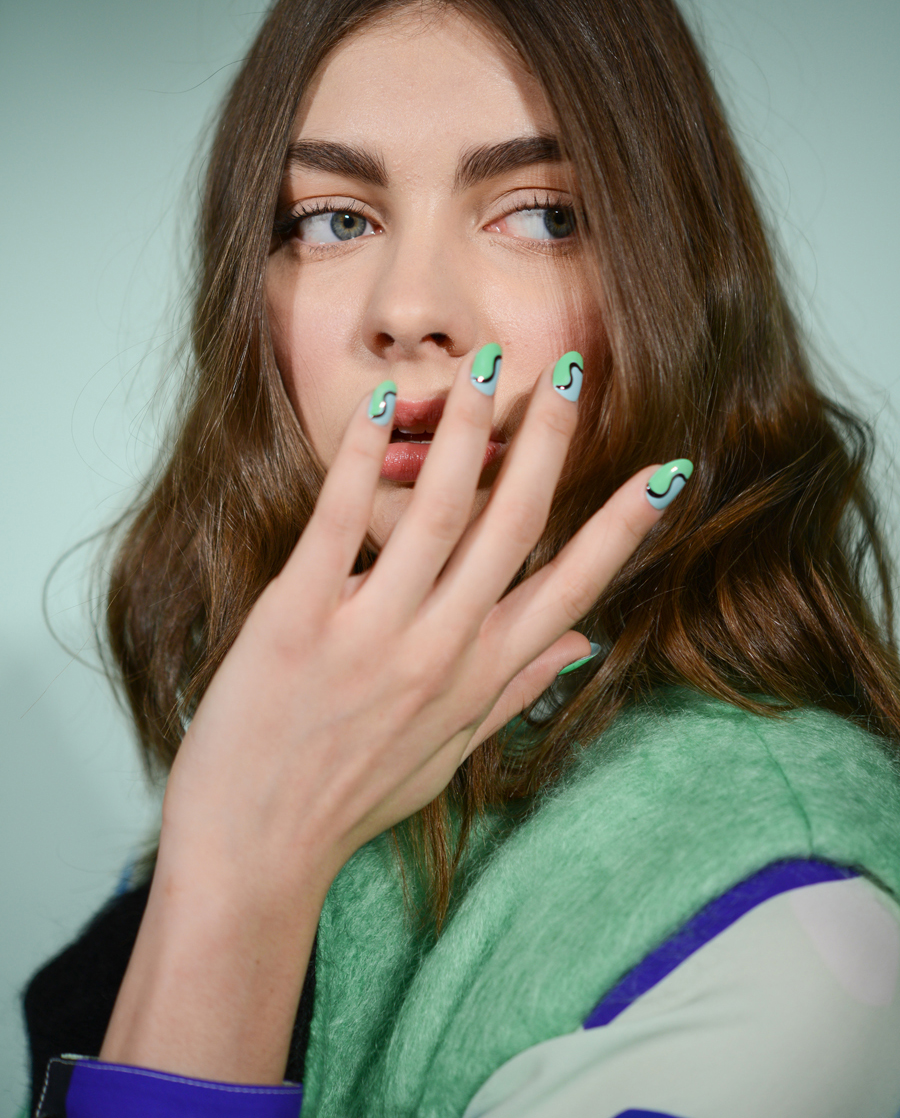 <p>Lead manicurist Casey Herman for China Glaze was inspired to create ruffles on nails for Novis.</p>