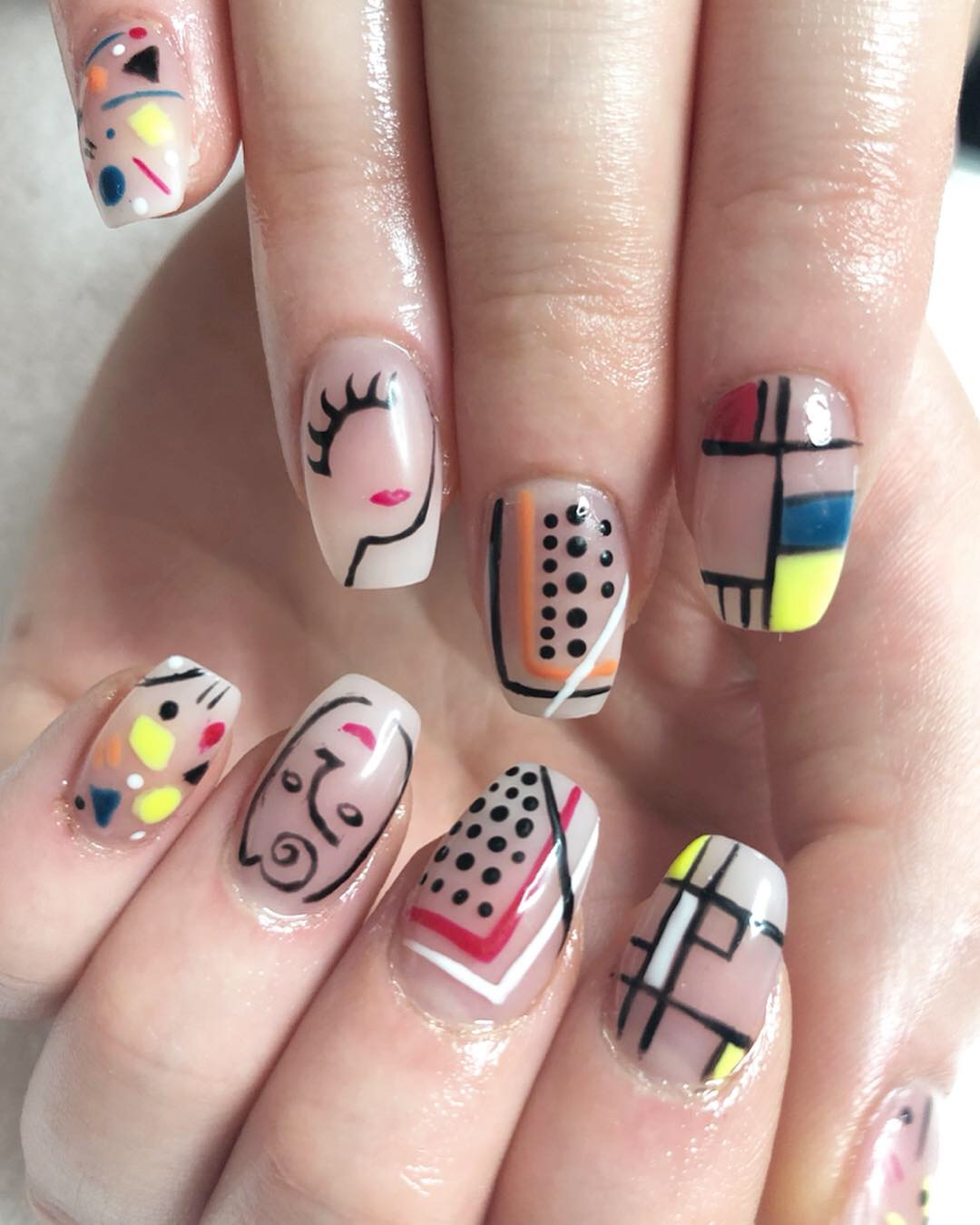Day 102: Pop Art Faces and Baby Boomer Nail Art