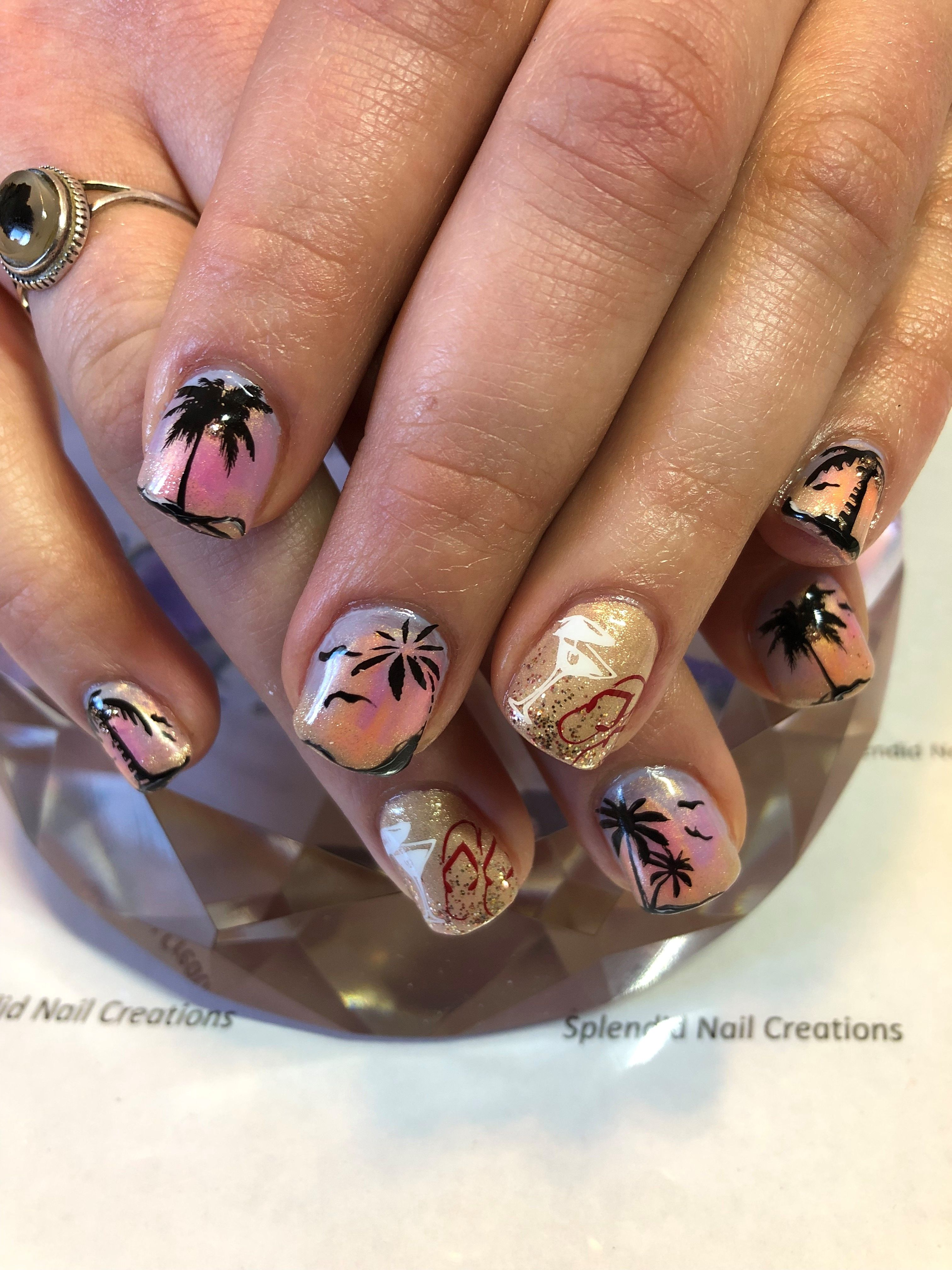 Day 186: Tropical Sunset Nail Art