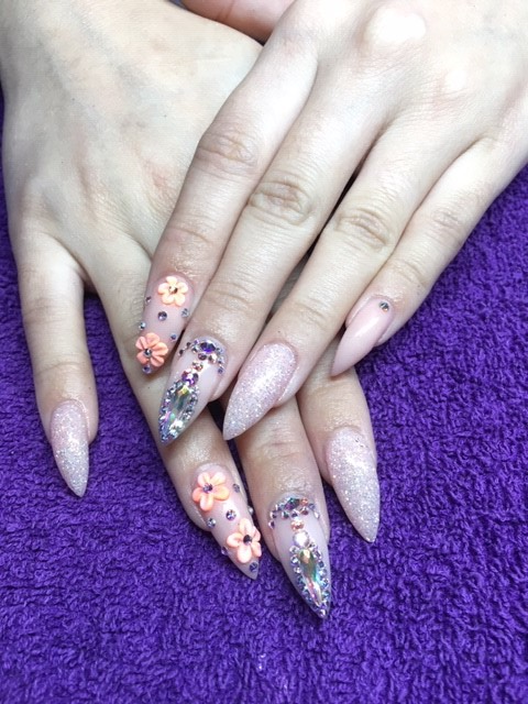 Day 92: 3-D Spring Flowers and Glitter Nail Art